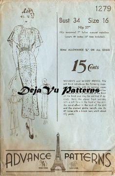 Advance 1279 Vintage 1930s Capelet Dress Sewing by DejaVuPatterns