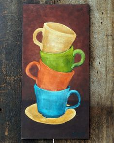 Coffee cup painting. Original acrylic painting. Heavy textured impasto painting. Kitchen wall art. on Etsy, $175.00