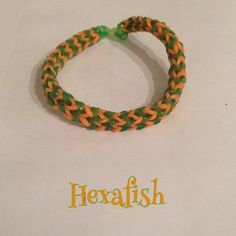 Orange & green Hexafish bracelet, made on a fork