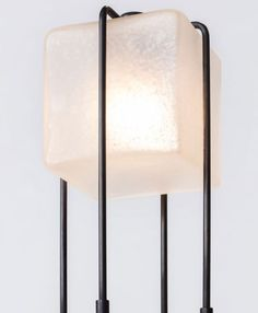 ALICE FLOOR LAMP by ATELIER DE TROUPE - Handmade in LA | Available at Spence & Lyda Sandblasted Glass, Glass Cube, Diffused Light, Brutalist, Hand Blown Glass, Floor Lamp, Alice, Glow, Bulb