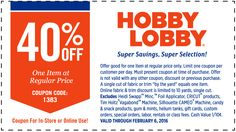 Pinned February 2nd: 40% off a single item at Hobby #Lobby or online via promo code 1383 #coupon via The #Coupons App