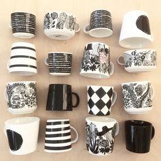 Coffee cups. Marimekko. Finnish. Black and white. Arabia Finland. Interior decor. Nordic living. By Johanna Sandberg.