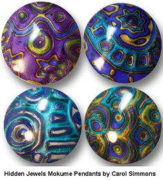 "mokume pendants from my ""Hidden Jewels Mokume"" workshop"