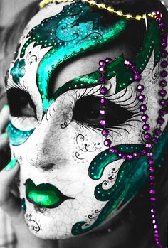 Mardi Gras Mask and beads, DONE IN FACE PAINT