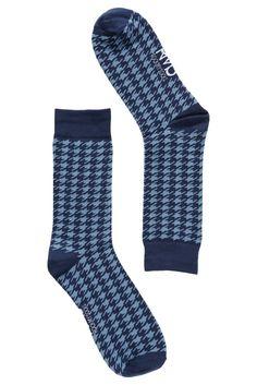 blue houndstooth mens socks