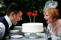 knitted hearts wedding cake