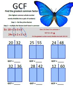 A+ Homeschool : FREE Math Worksheet: Find the Greatest Common Factors
