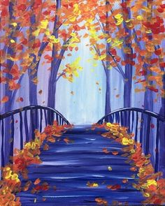 Find the perfect thing to do tonight by joining us for a Paint Nite in Avonmore, PA, featuring fresh paintings to be enjoyed over even fresher cocktails! Simple Canvas Paintings, Easy Canvas Painting, Autumn Painting, Diy Canvas Art, Autumn Art, Painting & Drawing, House Painting, Oil Pastel Art, Painting Inspiration
