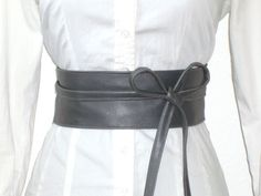 Taillengürtel - Taillengürtel Schärpe grau Leder - ein Designerstück von lucylique bei DaWanda