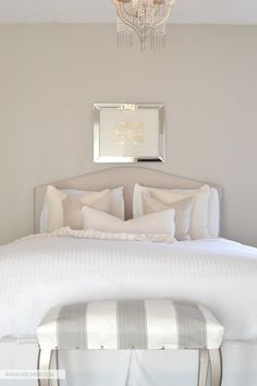 DIY Decorating Ideas for Your Bedroom. So many great ideas in this post like the dollar place mat framed in this photo as wall art !! by  @Virginia (LiveLoveDIY) Virginia is the Master of all things Home Decor on a Budget !! She has never bought a new piece of furniture (ever !) And her Home is beyond Gorgeous !