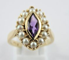 Ladies 18 Kt Yellow and White Gold Sapphire and Diamond Navette Shaped Cluster Ring - SIZE 7 Purple Amethyst, Blue Sapphire, Engagement Rings Under 500, Diamond Cluster Ring, Brilliant Diamond, Pearl Ring, Cultured Pearls, White Gold, Gemstones