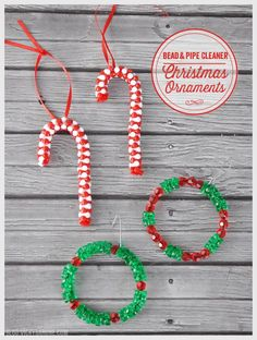 Today we're sharing some classic DIY ornaments that you might have made when you were a kid! These candy canes and wreaths are super simple and so much fun for kids. For the candy canes you will need red or white pipe cleaners, red and white tri-beads, and some red ribbon. Take a pipe cleaner and add one bead, then secure the end of the pipe cleaner to that bead. Add more beads, alternating between red and white, until you cover about 2/3 of the pipe cleaner. Twist the end of the pipe cl...