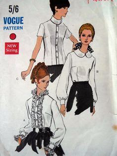 Vintage 1960s Vogue 7404 Mod Peter Pan Collar by FoxVintageUk