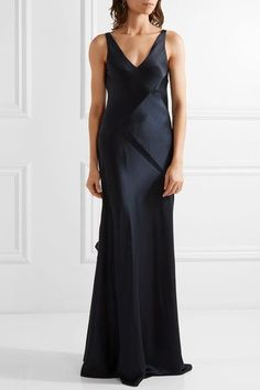 Narciso Rodriguez - Paneled Silk-satin Gown - Navy - IT42