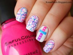white base) and then I stamped the random lines design from BM-316 using pink, blue and purple nail polis