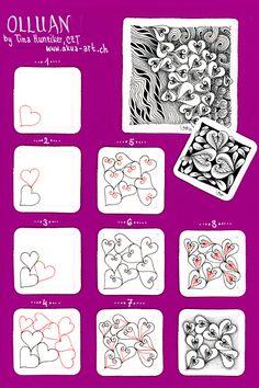 Olluan by Tina Hunziker (Step Drawing Zentangle Patterns) Doodles Zentangles, Tangle Doodle, Tangle Art, Zentangle Drawings, Zen Doodle, Doodle Drawings, Doodle Art, Easy Drawings, Heart Doodle