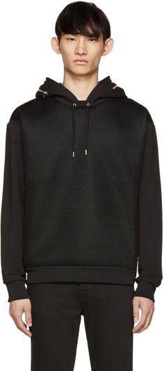 MCQ ALEXANDER MCQUEEN Black Mesh Panel Hoodie. #mcqalexandermcqueen #cloth #hoodie
