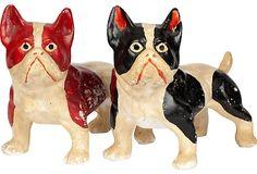Vintage Chalkware Terriers, Pair