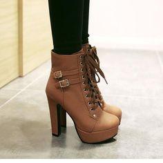 Lace Up Round Toe Platform Stiletto High Heels Short Martin Boots - Schuhe - High Heels Boots, Black High Heels, Lace Up Heels, High Heels Stilettos, Stiletto Heels, Short Heels, High Heels Outfit, Studded Heels, Cute Heels