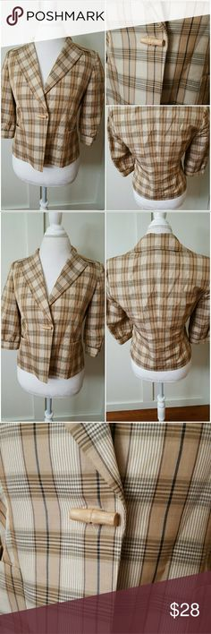 Talbots Size 8 Beige Plaid Lined Jacket Talbots Collection Petites size 8 plaid jacket.  3/4 length sleeves. Lined. One button closure. Two front pockets. Pre-owned and in good. 60% Ramie 40% Polyester. Lining 100% Lyocell Talbots Jackets & Coats