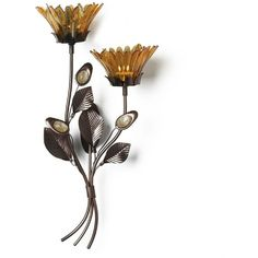 Mikasa Flower Wall Sconce (€35) ❤ liked on Polyvore featuring home, lighting, wall lights, amber, flower wall lights, flower stem, flower lights, mikasa and flower lamp