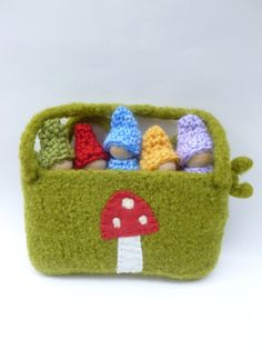 Gnomes in a pouch set wood peg dolls felted pouch by greenmountain