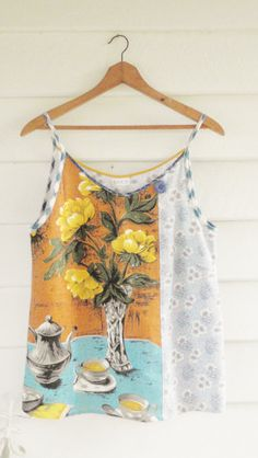 Upcycled Vintage Linen Tea Towel Tank Top Singlet by apieceofpie, $66.00