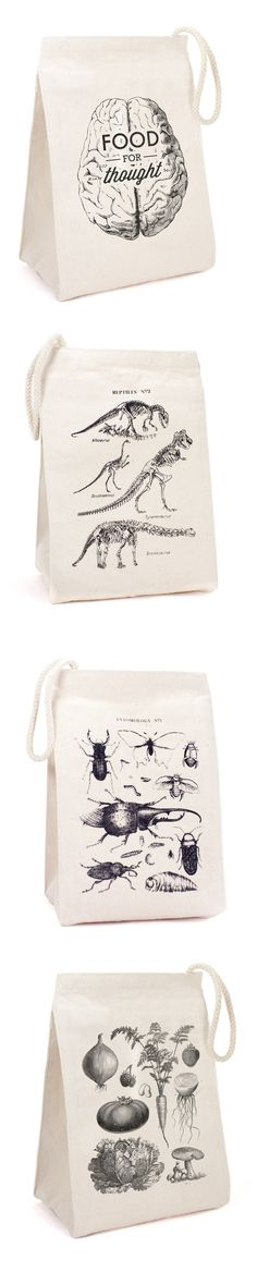 Science lunch bags. Food for Thought, Dinosaurs, Insects, Vegetables on recycled cotton canvas. What does your lunch have in store?