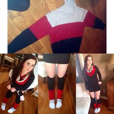 Leg warmers and infinity scarf made from an old sweater