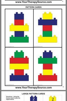 turnen im kindergarten weihnachten - Mode Für Teens Visual Motor Activities, Lego Activities, Preschool Activities, Lego Duplo, Lego Therapy, School Ot, Pediatric Ot, Card Patterns, Block Patterns