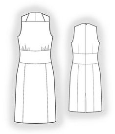 Dress With Straight Neckline  - Sewing Pattern #5884 Made-to-measure sewing pattern from Lekala with free online download.