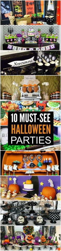 Check out these must-see Halloween parties! There are lots of spooky Halloween ideas for cakes, cupcakes, party food, decorations, and printables. Halloween Dessert Table, Halloween Food For Party, Halloween Birthday, Holidays Halloween, Halloween Crafts, Happy Halloween, Halloween Decorations, Halloween Ideas, Food Decorations