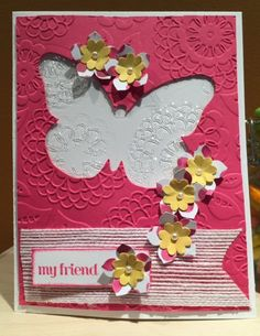 https://flic.kr/p/ykAgcb | Card 2015-137 | Another embossed piece of cellophane. This card was made using the thinlits that coordinate with the Butterfly Basics stamp set and the flowers are stamped with the Petite Petals stamp set and punched out with the coordinating punch.