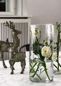 Duas flores brancas em cada vaso. White flowers.