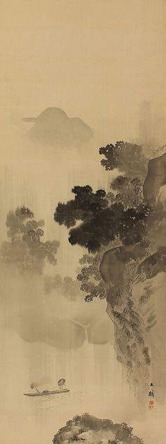Landscape, Fishing in the Rain by Shiokawa Bunrin(1808-1877). Japanese hanging scroll painting kakejiku.
