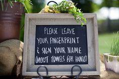 Sign for fingerprint guest book.