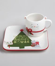 Take a look at this White Happy Holidays Plate & Mug Set by tag on #zulily today!