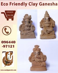 Clay Ganesha, Ganesha Art, Diy Clay, Clay Crafts, Eco Friendly Ganesha, Happy Ganesh Chaturthi Images, Ganapati Decoration, Ganesh Idol, Lord Ganesha Paintings