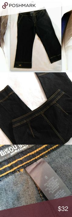 🔶 Bisou Bisou NWOT Cropped Stretch Pants size 8 🔶 Bisou Bisou NWOT Cropped Stretch Pants size 8 Never worn! Stored hanging in closet for years, and no creases from the hanger. I love easy care clothing. Looks great with sandals or dress them up with heels. Dark blue almost black stretchy denim. Bisou Bisou Jeans Ankle & Cropped