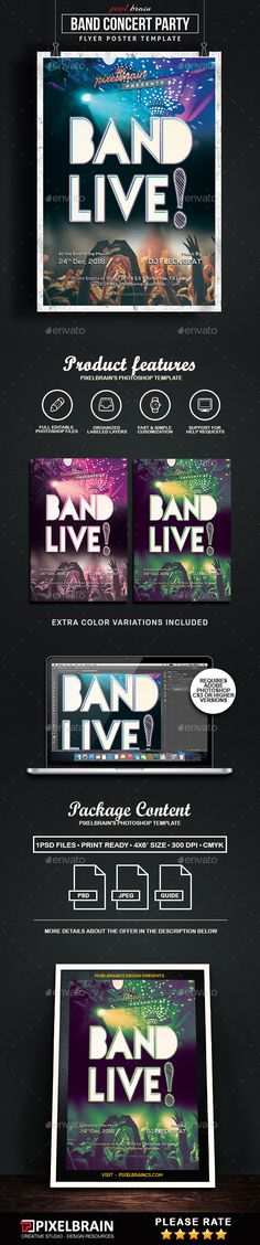 Band Concert Flyer Template  - PSD Template • Only available here ➝ http://graphicriver.net/item/band-concert-flyer-template/16838870?ref=pxcr
