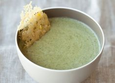 Broccoli Soup with Parmesan-Lemon Frico