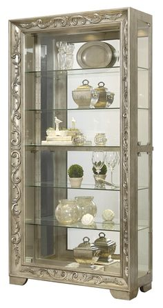 Scroll Side Entry Mirrored Curio with with Four Adjustable Glass Shelves One LED Light with Touch Dimmer Switch Distressed Detailing and Molding Detail in Silver Modern Tv Room, Modern Dining Room Lighting, Dining Room Light Fixtures, Curio Cabinet Decor, Crockery Cabinet, Display Cabinets, Curio Cabinets, China Cabinets, Wood Cabinets