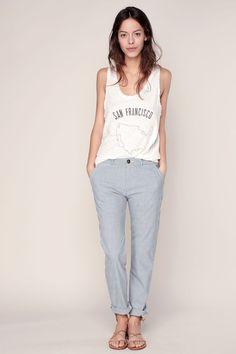 Pantalon chino rayé gris/blanc Sandy Fancy 1