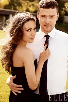 Justin Timberlake and Mila Kunis. LOVE! (Mila Kunis wears a strapless stretch crepe dress from Lanvin)