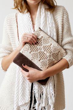 LAST ONE Moroccan Pattern Printed  Leather Pouch No. di CORIUMI