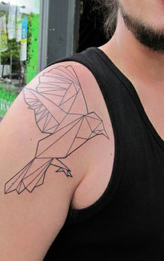 geometric bird tattoo