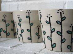 Flower PotHandpainted set of 3 flowers pots by EsobDesigns on Etsy, $28.00