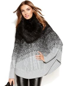 Michael Michael Kors Sweater, Long-sleeve Faux-fur Ombre Poncho