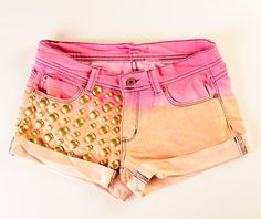 Embellished Tie-dye/Ombre Shorts  with Studs