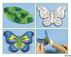 Caterpillar on a leaf: Cover a leaf-shape with different pieces of tissue paper, then use pop-poms to make the caterpillar body.